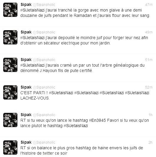 A screenshot of tweets emanating from the user thought to have started #SiJetaisNazi hashtag.
